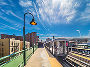 #1 train line stops on 125th street station in Manhattan of the New York City Subway.