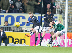 Falkirk's Aaron Muirhead holds Hibernian's John McGinn. <br /> Falkirk 1 v 1 Hibernian, Scottish Championship game played 17/1/2015 at The Falkirk Stadium.