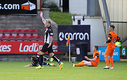 Dundee United's Paul Dixon brings down Dunfermline's Michael Paton and gets a red card. Dunfermline 1 v 3 Dundee United, Scottish Championship game played 10/9/2016 at East End Park.