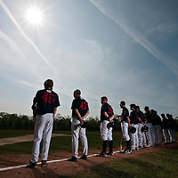 25 April 2010: Team Rouen stands prior to game 2/week 3 of the French Elite season won 12-0 by Rouen over the PUC, at the Pershing Stadium in Vincennes, near Paris, France.