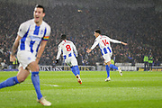 Brighton and Hove Albion defender Leon Balogun (14)  celebrates his goal with Brighton and Hove Albion midfielder Yves Bissouma (8) during the Premier League match between Brighton and Hove Albion and Crystal Palace at the American Express Community Stadium, Brighton and Hove, England on 4 December 2018.
