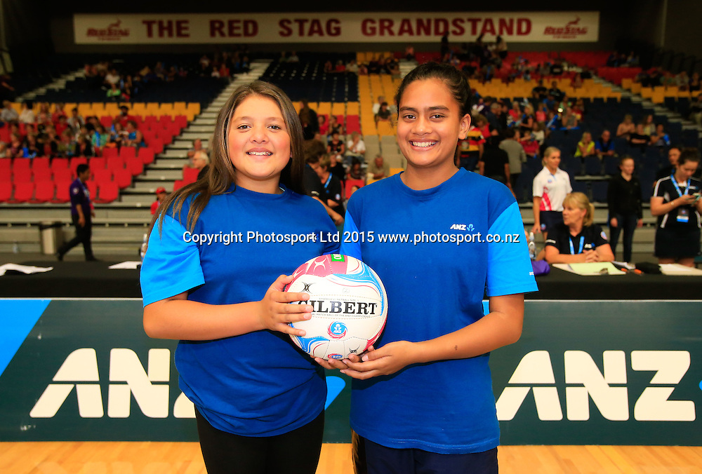 ANZ Future Captains - Kayse Dawson, and Mere Tutakangaha. ANZ Championship Netball, Magic v Mystics, Energy Events Centre, Rotorua, New Zealand. Sunday, 05 April, 2015. Copyright photo: John Cowpland / www.photosport.co.nz