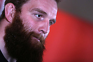 Jake Ball of Wales speaks to the media at the Wales Rugby team announcement press conference at the Vale Resort, Hensol near Cardiff, South Wales on Thursday 2nd Feb 2017.  The team are preparing for the the RBS Six nations match against Italy.  pic by  Andrew Orchard, Andrew Orchard sports photography.