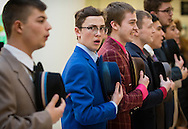 """Town of Wallkill, New York - Valley Central High School students perfrom a song from """"Guys and Dolls"""" during the Orange County Arts Council's All-County High School Musical Showcase and Arts Display at the Galleria at Crystal Run on Feb. 27, 2016."""