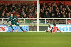 Tom Nichols of Exeter City scores.- Mandatory byline: Alex James/JMP - 08/01/2016 - FOOTBALL - St James Park - Exeter, England - Exeter City v Liverpool - FA Cup Third Round