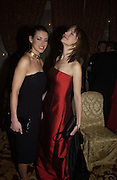 Kirsty Gallagher and Katie Derham. Bulgari/NSPCC Snow Ball, Mandarin Oriental. 11 December 2002. © Copyright Photograph by Dafydd Jones 66 Stockwell Park Rd. London SW9 0DA Tel 020 7733 0108 www.dafjones.com