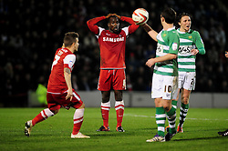 Leyton Orient's Anthony Griffith is shocked after receiving a second yellow card - Photo mandatory by-line: Dougie Allward/JMP - Tel: Mobile: 07966 386802 09/01/2013 - SPORT - FOOTBALL - Matchroom Stadium - London -  Leyton Orient v Yeovil Town - Johnstone's Paint Trophy Southern area semi-final.