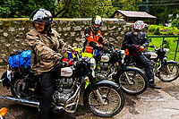 A group of Italian motorcyclists preparing to leave Manali to ride to Ladakh, Himachal Pradesh, India.