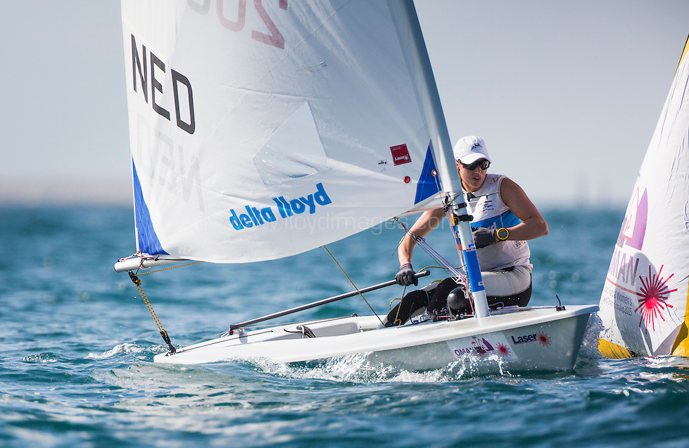 The 2015 Laser Women's Radial World Championship. Mussanah. Oman. November 18-26 November. Day 2 of racing Image - Marit Bouwmeester (NED)<br /> licensed to Lloyd Images