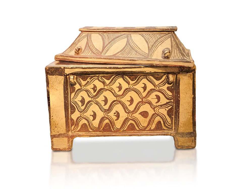 Minoan  pottery coffin chest coffin with gabled lid decorated with a net pattern,  Tylissos-Panokklisia 1350-1250 BC, Heraklion Archaeological  Museum, white background. .<br /> <br /> If you prefer to buy from our ALAMY PHOTO LIBRARY  Collection visit : https://www.alamy.com/portfolio/paul-williams-funkystock/minoan-art-artefacts.html . Type -   Heraklion   - into the LOWER SEARCH WITHIN GALLERY box. Refine search by adding background colour, place, museum etc<br /> <br /> Visit our MINOAN ART PHOTO COLLECTIONS for more photos to download  as wall art prints https://funkystock.photoshelter.com/gallery-collection/Ancient-Minoans-Art-Artefacts-Antiquities-Historic-Places-Pictures-Images-of/C0000ricT2SU_M9w