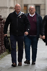 © Licensed to London News Pictures. 17/12/2019. London, UK. Tim Dunn (right, father of Harry Dunn) and family spokesperson Radd Seiger (left) arrive at the Foreign and Commonwealth Office in Westminster, London, for a meeting with Foreign Secretary Dominic Raab. Harry Dunn was killed when his motorbike crashed into a car outside RAF Croughton in Northamptonshire on August 27. Photo credit : Tom Nicholson/LNP