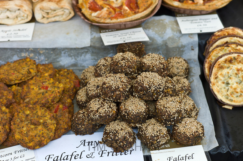 Home-made Falafel and sweetcorn fritters on sale at Farmers' Market