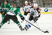 DALLAS, TX - SEPTEMBER 26:  Alex Tanguay #40 of the Colorado Avalanche carries the puck against the Dallas Stars in an NHL preseason game on September 26, 2013 at the American Airlines Center in Dallas, Texas.  (Photo by Cooper Neill/Getty Images) *** Local Caption *** Alex Tanguay