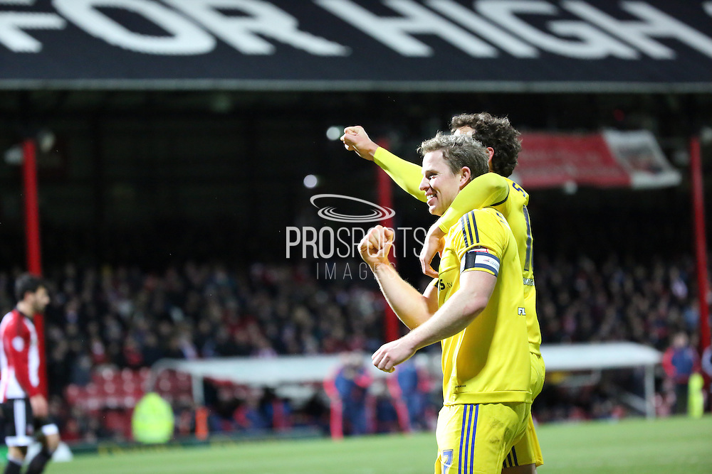 Middlesbrough captain and midfielder Grant Leadbitter celebrating during the Sky Bet Championship match between Brentford and Middlesbrough at Griffin Park, London, England on 12 January 2016. Photo by Matthew Redman.