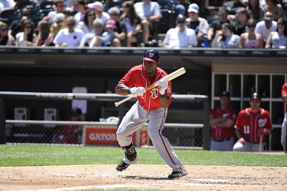 CHICAGO, IL - JUNE 26:  Roger Bernadina #2 of the Washington Nationals attempts to bunt against the Chicago White Sox on June 26, 2011 at U.S. Cellular Field in Chicago, Illinois.  The Nationals defeated the White Sox 2-1.  (Photo by Ron Vesely/MLB Photos via Getty Images)  *** Local Caption *** Roger Bernadina