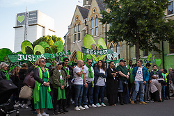 London, UK. 14 June, 2019. Members of the Grenfell community, joined by firefighters, politicians and well-wishers, take part in the Grenfell Silent Walk around North Kensington on the second anniversary of the Grenfell Tower fire on 14th June 2017 in which 72 people died and over 70 were injured.