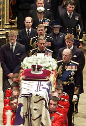 File photo dated 09/04/02 of members of the Royal family as they follow Queen Elizabeth the Queen Mother's coffin being carried from Westminster Abbey, London, after her funeral. The Queen mother's funeral was the last royal funeral to be extensively televised in the UK. Issue date: Friday April 16, 2021.