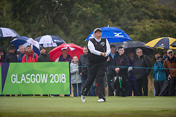 Great Britain's Dame Laura Davies tees off at the 16th hole during her semi final match with Sweden this morning during day eleven of the 2018 European Championships at Gleneagles PGA Centenary Course.