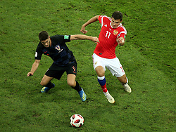July 7, 2018 - Sochi, Russia - July 07, 2018, Sochi, FIFA World Cup 2018, the playoff round. 1/4 finals of the World Cup. Football match Russia - Croatia at the stadium Fisht. Player of the national team Roman Zobnin  (Credit Image: © Russian Look via ZUMA Wire)