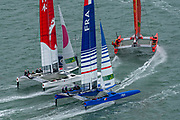 SailGP Team China rounds the bottom mark ahead of Team Japan and Team France in race two of practice. Event 4 Season 1 SailGP event in Cowes, Isle of Wight, England, United Kingdom. 8 August 2019: Photo Chris Cameron for SailGP. Handout image supplied by SailGP