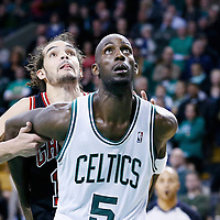 18 January 2013: Boston Celtics power forward Kevin Garnett (5) vies for the rebound with Chicago Bulls center Joakim Noah (13) during the Chicago Bulls 100-99 overtime victory over the Boston Celtics at the TD Garden, Boston, Massachusetts, USA.