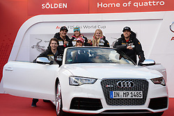 24.10.2013, Audi Lounge, Soelden, AUT, FIS Ski Alpin, Soelden, im Bild Team Canada during the Audi press conference prior to the alpine skiing world cup opening race at the Audia Lounge, Soelden, Austria on 2013/10/22. EXPA Pictures © 2013, PhotoCredit: EXPA/ Mitchell Gunn<br /> <br /> *****ATTENTION - OUT of GBR*****
