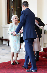 King Felipe VI of Spain bids farewell to Queen Elizabeth II at Buckingham Palace, on the final day of the King's State Visit to the UK.