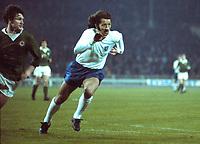 Frank Worthington  (England) Pat Rice (Ireland)<br /> England v Northern Ireland  15/05/1974 @ Wembley.<br /> Credit:Colorsport