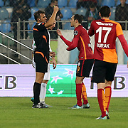Referee Serkan Cinar (L) and Galatasaray's Umut Bulut (C) during their Turkish Super League soccer match Caykur Rizespor between Galatasaray at the Yeni Rize Sehir stadium in Rize Turkey on Saturday, 07 November 2015. Photo by TVPN/TURKPIX