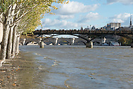 France. Paris. 1st district . flood on the Seine river .  Paris city center view from the quay du Louvre along the Seine river/  crue de la Seine. Le quai du Louvre longe la Seine