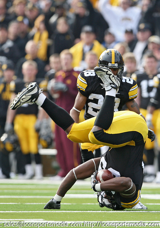 November 21, 2009: Iowa defensive tackle Mike Daniels (93) rolls as he grabs a lose ball during the first half of the Iowa Hawkeyes 12-0 win over the Minnesota Golden Gophers at Kinnick Stadium in Iowa City, Iowa on November 21, 2009.