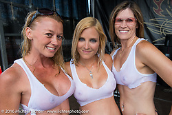 Wet T-shirt competition at the Roadhouse during Laconia Motorcycle Week 2016. NH, USA. Friday, June 17, 2016.  Photography ©2016 Michael Lichter.