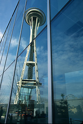 United States, Washington, Seattle, Space Needle reflected in Pacific Science Center