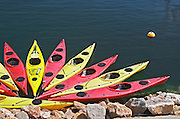 Coulourful kayaks. Banyuls sur Mer, Roussillon, France