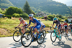 Leah Thomas on the first climb at La Course by Le Tour de France 2018, a 112.5 km road race from Annecy to Le Grand Bornand, France on July 17, 2018. Photo by Sean Robinson/velofocus.com