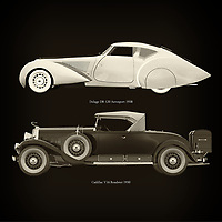 For the lover of old classic cars, this combination of a Delage D8-120 Aerosport 1938 and Cadillac V16 Roadster 1930 is truly a beautiful work to have in your home.<br />