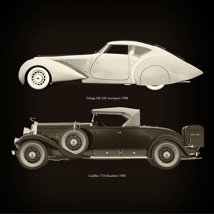 For the lover of old classic cars, this combination of a Delage D8-120 Aerosport 1938 and Cadillac V16 Roadster 1930 is truly a beautiful work to have in your home.<br /> The classic Delage D8 and the beautiful Cadillac V16  are among the most beautiful cars ever built.<br /> You can have this work printed in various materials and without loss of quality in all formats.<br /> For the oldtimer enthusiast, the series by the artist Jan Keteleer is a dream come true. The artist has made a fine selection of the very finest cars which he has meticulously painted down to the smallest detail. – –<br /> -<br /> <br /> BUY THIS PRINT AT<br /> <br /> FINE ART AMERICA<br /> ENGLISH<br /> https://janke.pixels.com/featured/delage-d8-120-aerosport-1938-and-cadillac-v16-roadster-1930-jan-keteleer.html<br /> <br /> WADM / OH MY PRINTS<br /> DUTCH / FRENCH / GERMAN<br /> https://www.werkaandemuur.nl/nl/shopwerk/Delage-D8-120-Aerosport-1938-en-Cadillac-V16-Roadster-1930/755142/132?mediumId=1&size=60x60<br /> –