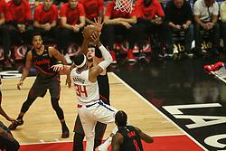 December 17, 2018 - Los Angeles, CA, U.S. - LOS ANGELES, CA - DECEMBER 17: Portland Trail Blazers Center Jusuf Nurkic (27) getting a hand up on Los Angeles Clippers Forward Tobias Harris (34) shot during the Portland Trail Blazers at Los Angeles Clippers NBA game on December 17, 2018 at Staples Center in Los Angeles, CA.. (Photo by Jevone Moore/Icon Sportswire) (Credit Image: © Jevone Moore/Icon SMI via ZUMA Press)