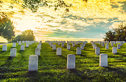 Warmth of the evening sun basks the headstones of departed souls at Jefferson Barracks National Cemetery