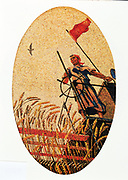 Women harvesting wheat on a combine harvester. Mosaic from the ceiling of the Moscow metro (underground railway), 1938.  By Alexander Deineka, Russian painter and graphic artist.