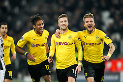 24.02.2015, Juventus Stadium, Turin, ITA, UEFA CL, Juventus Turin vs Borussia Dortmund, Achtelfinale, Hinspiel, im Bild l-r: Torjubel von Pierre-Emerick Aubameyang #17 (Borussia Dortmund), Marco Reus #11 (Borussia Dortmund) und Ciro Immobilie #9 (Borussia Dortmund) // during the UEFA Champions League Round of 16, 1st Leg match between between Juventus Turin and Borussia Dortmund on at the Juventus Stadium in Turin, Italy on 2015/02/24. EXPA Pictures © 2015, PhotoCredit: EXPA/ Eibner-Pressefoto/ Kolbert<br /> <br /> *****ATTENTION - OUT of GER*****