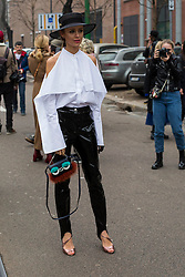 Fashion: street style at Milan Fashion Week 2017 outside of the Fendi show in Milan on February 23, 2017. 23 Feb 2017 Pictured: Street style at Milan Fashion Week 2017 outside of the Fendi show in Milan on February 23, 2017. Photo credit: Stefano Costantino / MEGA TheMegaAgency.com +1 888 505 6342