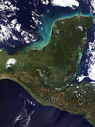 Yucatan peninsula, south-eastern Mexico, separating the Gulf of Mexico from the Caribbean Sea photographed by Satellite. Credit NASA. Science Earth Geology Oceanography