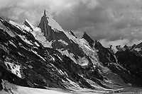 The needle-like summit of Laila Peak towers above the dramatic glaciers of the Hushe Valley, Pakistan