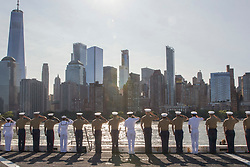 May 22, 2019 - New York, New York, U.S. - Sailors and Marines salute the Freedom Tower from the flight deck of the amphibious transport dock ship USS New York (LPD 21) while transiting the Hudson River as they head to a pier in Manhattan during Fleet Week New York. Fleet Week New York, now in its 31st year, is the city's time-honored celebration of the sea services. It is an unparalleled opportunity for the citizens of New York and the surrounding tribes-state area to meet Sailors, Marines and Coast Guardsmen, as well as witness firsthand the latest capabilities of today's maritime services. (Credit Image: © U.S. Navy/ZUMA Wire/ZUMAPRESS.com)