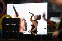 Alicia Keys performs at the Global Citizen's Festival in New York's Central Park. <br /> <br /> The free, ticketed event is part of the Global Citizen platform, a social media and live-event campaign. Musicians and celebrities join dignitaries and philanthropists to urge world leaders to act towards ending extreme poverty by 2030. Free tickets were earned by fans who logged on to www.globalfestival.com to learn and share content about four main themes: education, women's equality, global health and global partnerships.<br /> <br /> (Photo by Robert Caplin) 2013 Global Citizen's Festival. <br /> <br /> Photo ©Robert Caplin