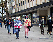 A crowd of protestors march through Cheltenham High Street, peacefully protesting the new restrictions introduced to the right of protesting. 20/03/2021