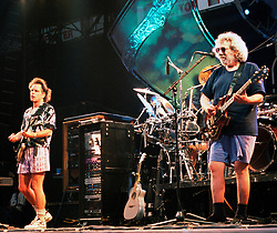 July 3, 2015 - The Musicians once and forever known as the 'Grateful Dead' will take the stage in Chicago this weekend for the last time to cap a two-city, five-show 50th anniversary run, Deadheads the world over will tune in to pay-per-view streams and satellite radio feeds, watch theatrical simulcasts, or attend any number of viewing parties. Pictured: Aug 03, 1994 - East Rutherford, New Jersey, U.S. - The Grateful Dead in concert in East Rutherford, New Jersey. Seen here is Bob Wier, left, and Jerry Garcia (Credit Image: NorthFoto/ZUMAPRESS.com)