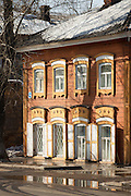 Traditional wooden houses in the town of Irkutsk, Siberia. Russia