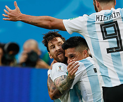 June 26, 2018 - Saint Petersburg, Russia - Lionel Messi (C) of Argentina national team celebrates his goal with Enzo Perez (2nd R) and Gonzalo Higuain during the 2018 FIFA World Cup Russia group D match between Nigeria and Argentina on June 26, 2018 at Saint Petersburg Stadium in Saint Petersburg, Russia. (Credit Image: © Mike Kireev/NurPhoto via ZUMA Press)